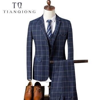 TIAN QIONG los nuevos padrinos de boda solapa del novio esmoquin azul Plaid hombres  boda trajes de negocios Oficina de desgaste (chaqueta + pantalones + ... 93d68fed1ef