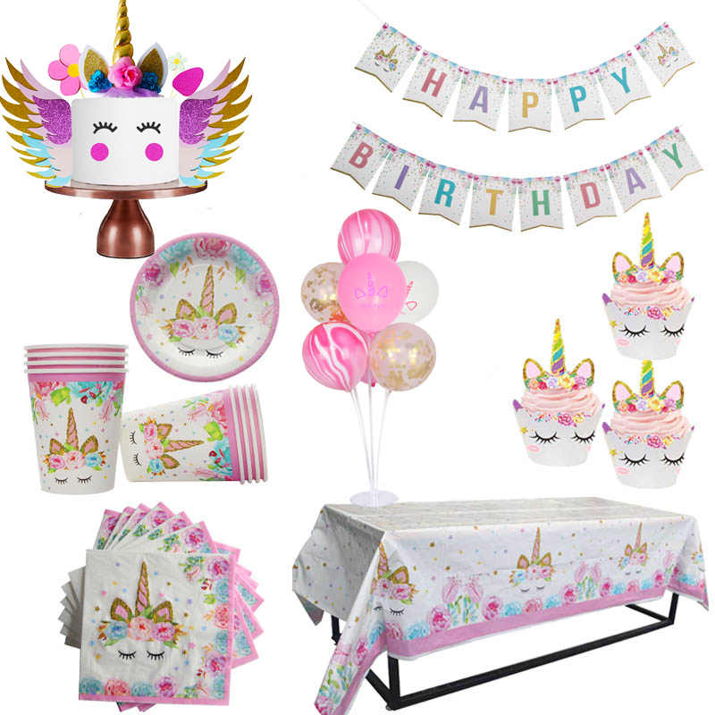 WEIGAO Unicorn Party Decor Birthday Decoration Kids Theme Paper Hat Napkins Plate Girl Happy