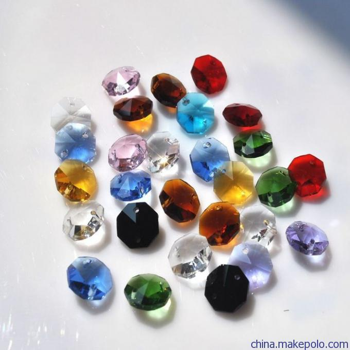 50pcs 14mm 2 Holes Octagon Crystal Glass Prism Decoration Beads Lots Mixed