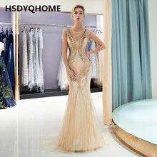 f143a981601 HSDYQHOME Высокое качество Русалка вечернее платье с кристаллами камни  длинное платье Вечерние развертки поезд платье