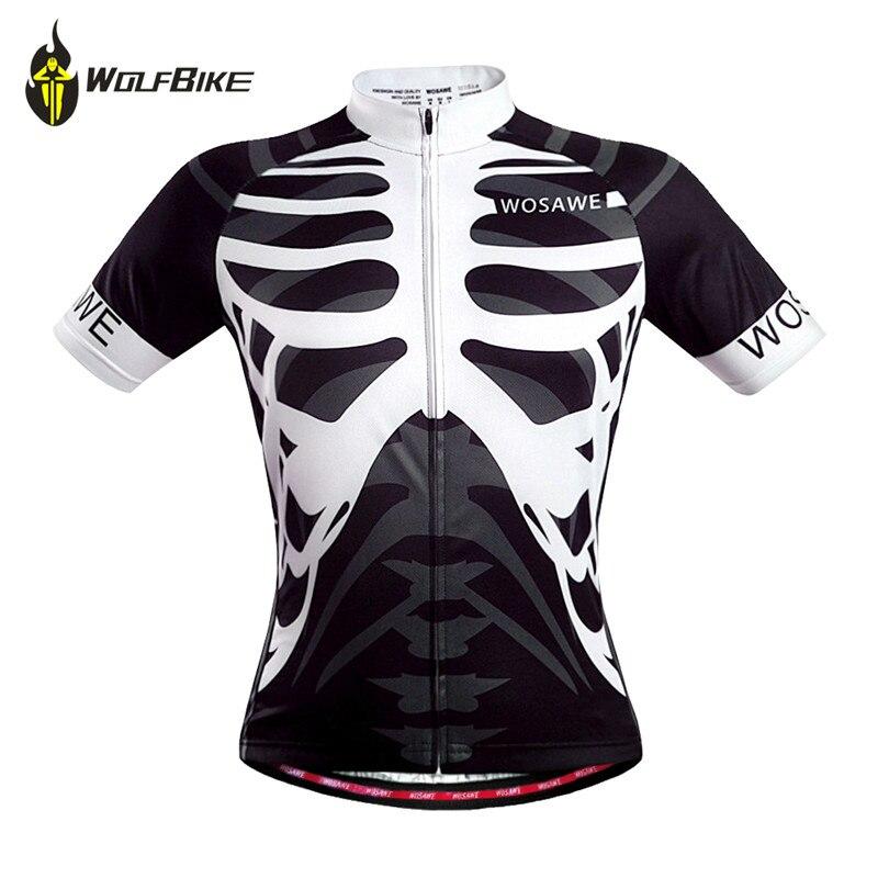 WOSAWE Men Skeleton Bone Cycling Jersey Mountain Road Bike Bicycle Sportswear Ciclismo Short Sleeve Cycle Wear Clothing