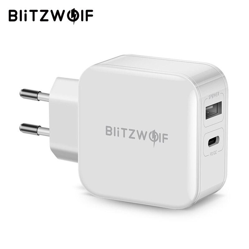 BlitzWolf 30 W el tipo-C teléfono móvil cargador PD/QC3.0 + 2.4A Dual USB cargador rápido UE/ adaptador para iPhone X 8 Plus para iPad blanco