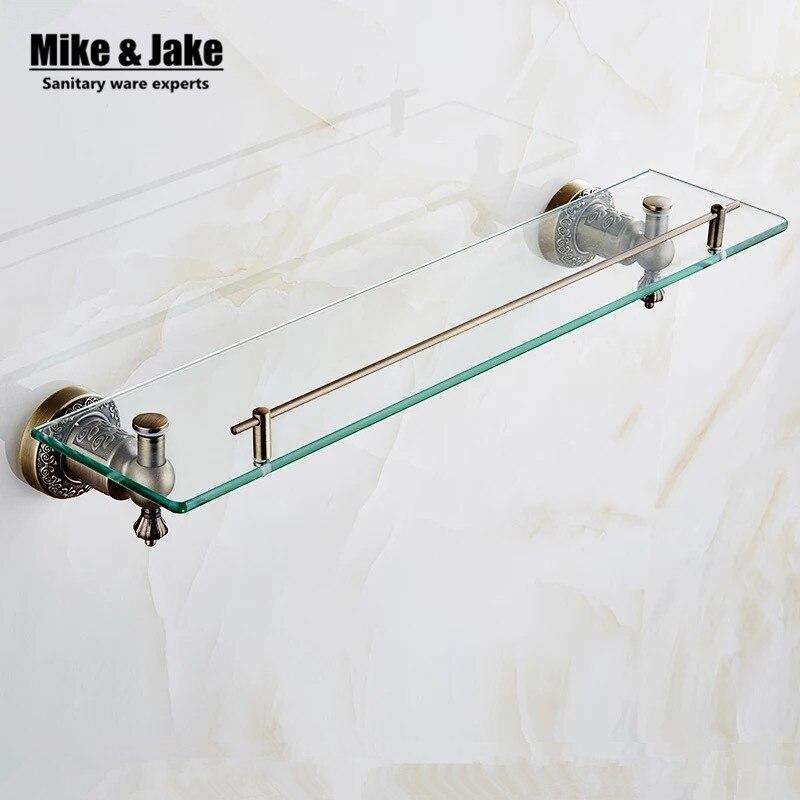 bathroom antique bronze glass shelf brass shower rack holder bathroom cosmetic shelf basket for square basket for bathroom