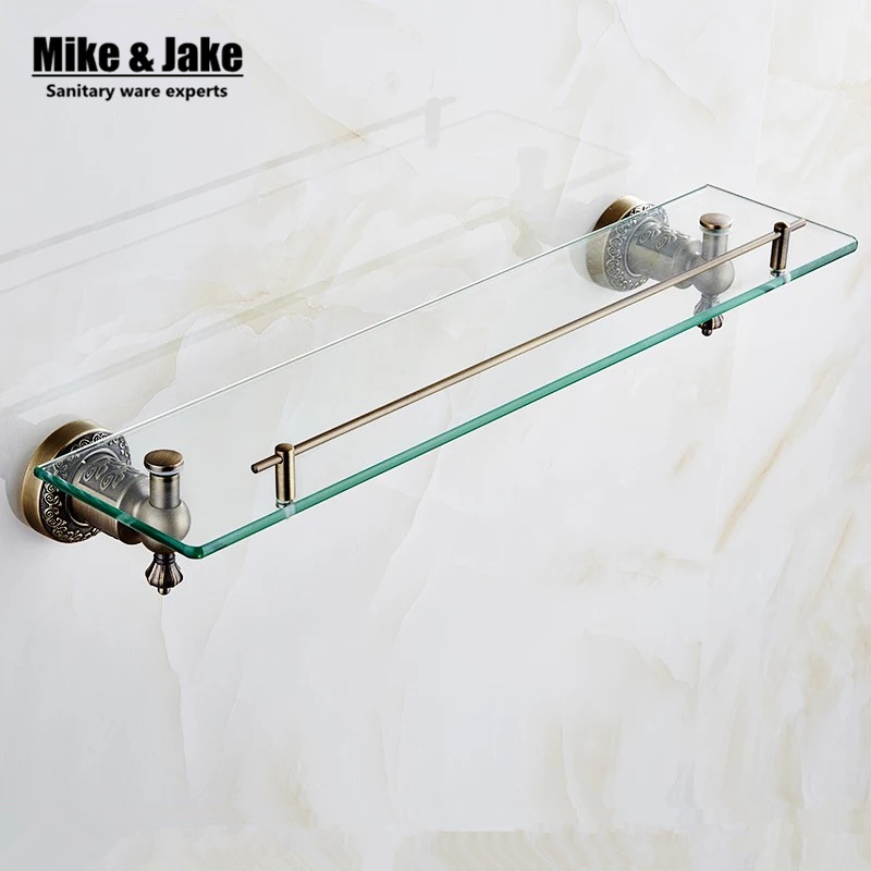 bathroom antique bronze glass shelf brass shower rack holder bathroom cosmetic shelf basket for square basket