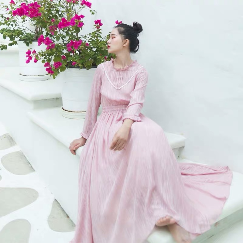 IRINAY522 2019 Spring Summer Collection new arrival vintage ruched collar large bottom long jacquard chiffon dress women