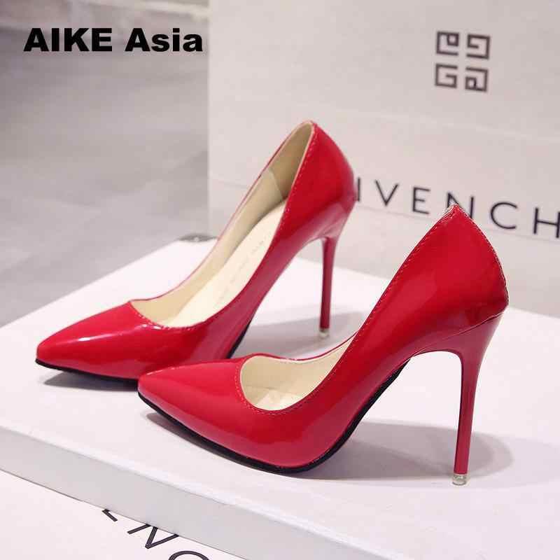 Hot Wanita Sepatu Toe Pointed Pompa Paten Kulit Dresshigh Heels Boat Pernikahan Zapatos Mujer pernikahan Merah Biru Merah Hitam Aprikot