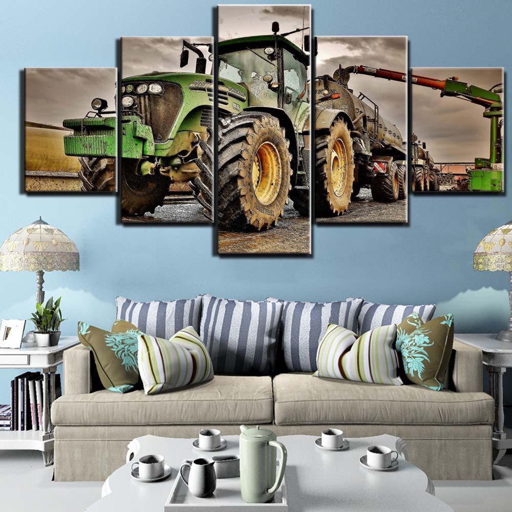 Toile Peinture 5 Pièce Art Tracteur Hd Imprimé Mur Art Décor