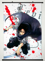 Wall Scroll Poster Fabric Printing For Anime Attack On Titan Levi Ackerman