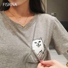 Summer Print Middle Finger Pocket Cartoon Harajuku O-neck Short Sleeve Cotton Couple Tee Plus Size T Shirt Pocket Cat Women