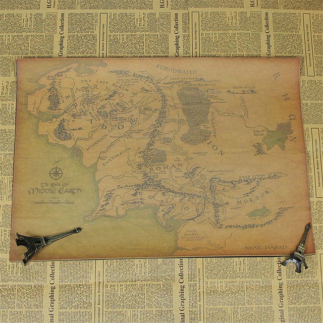 "New 2016 wall posters ""The hobbit map"" kraft paper retro poster pictures for home decor house bar pub kir room HX-550"
