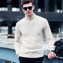 High Quality Winter Thick Warm Christmas Sweater Men Pure Merino Wool Pullover Men Fashion Turtleneck Cashmere Knitwear Men 6332