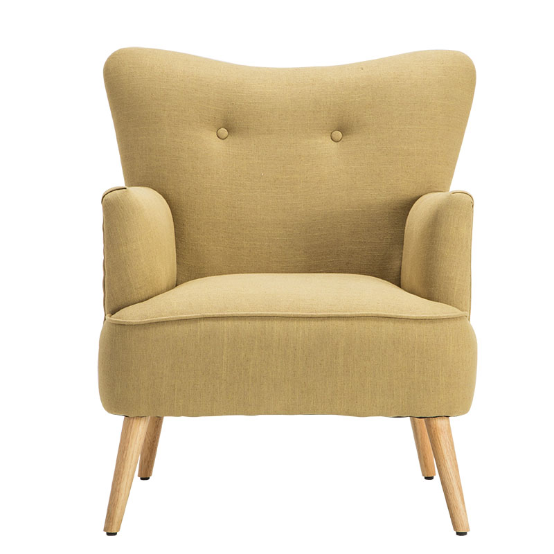 Modern Armchair Chair Wooden Leg Home Furniture Living Room Chairs Bedroom Leisure Wing Chair Design Upholstered Accent Armchair