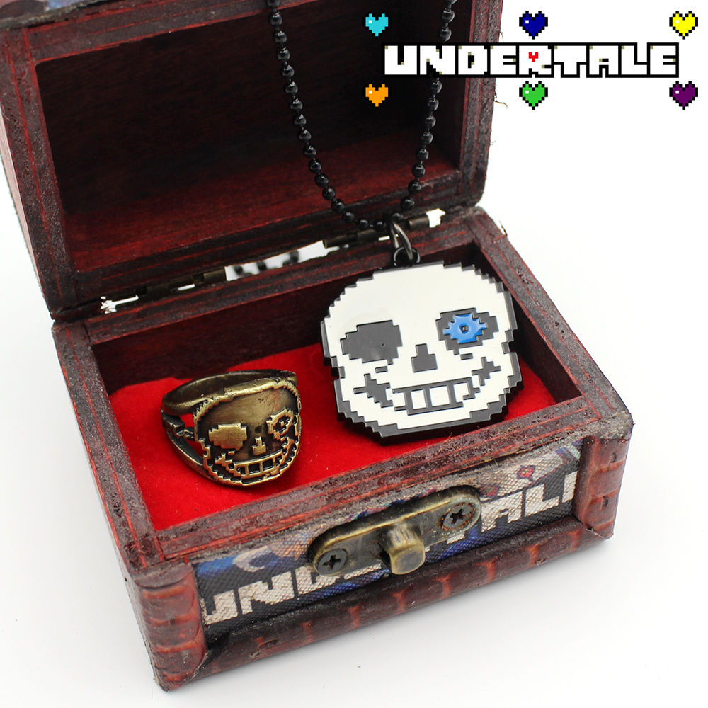 OHCOMICS Hot Game Undertale Sans Metal Necklace+Rings+Wooden Box Costume Accessoried Pendants Ornament Decor Collected Gift