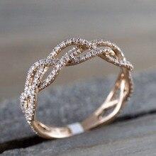 Новинка, скручивающаяся веревка, пеньковый кубический, обручальные кольца для женщин, розовое золото, микро циркониевый хвост, кольцо для девушек, элегантный подарок на помолвку, украшение