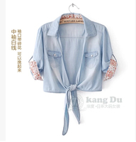 2017 جديد وصول المرأة الأزياء الحلو الدنيم قميص الصيف السيدات السراويل الجينز عارضة سترة قصيرة الرأس صغير صدرية