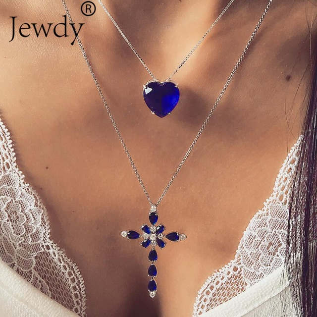 Multilayer Blue Crystal Heart Cross Pendant Necklace for Women Fashion Rhinestone Ocean Jewelry Choker Statement Valentine's Day