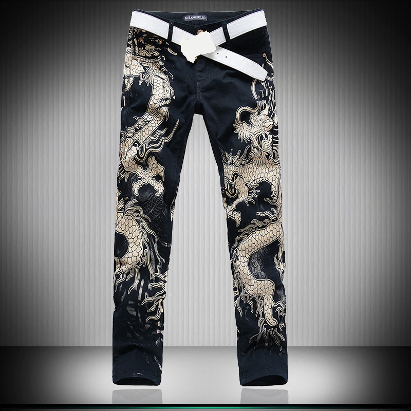 3D Wolf Dragon Leapord Printed   Jeans   Men Skinny   Jeans   Men Black   Jeans   Punk rock   Jeans   for men Mens Stretch Denim Pants Trousers