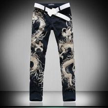 3D Wolf Dragon Leapord Printed Jeans Men Skinny Jeans Men Bl