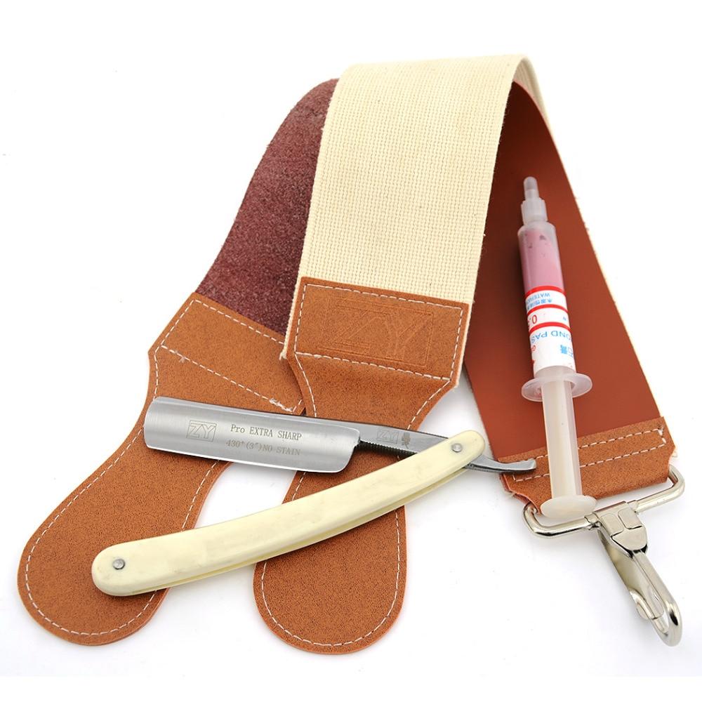 3c14743a520e ZY Homme Straight Edge Rasage Rasoir Ensemble Cut Throat Couteau + en cuir  Affûtage Strop Ceinture + 10000   Pâte À Polir Pour Rasage Barbe