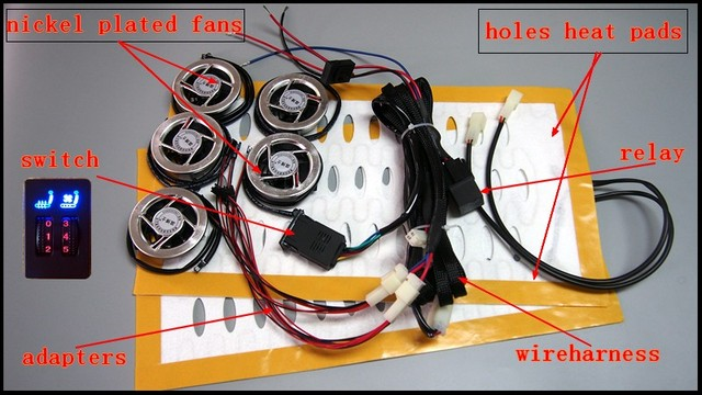 Car Seat Heaterventilation Kits With Square Switch Heatercooler