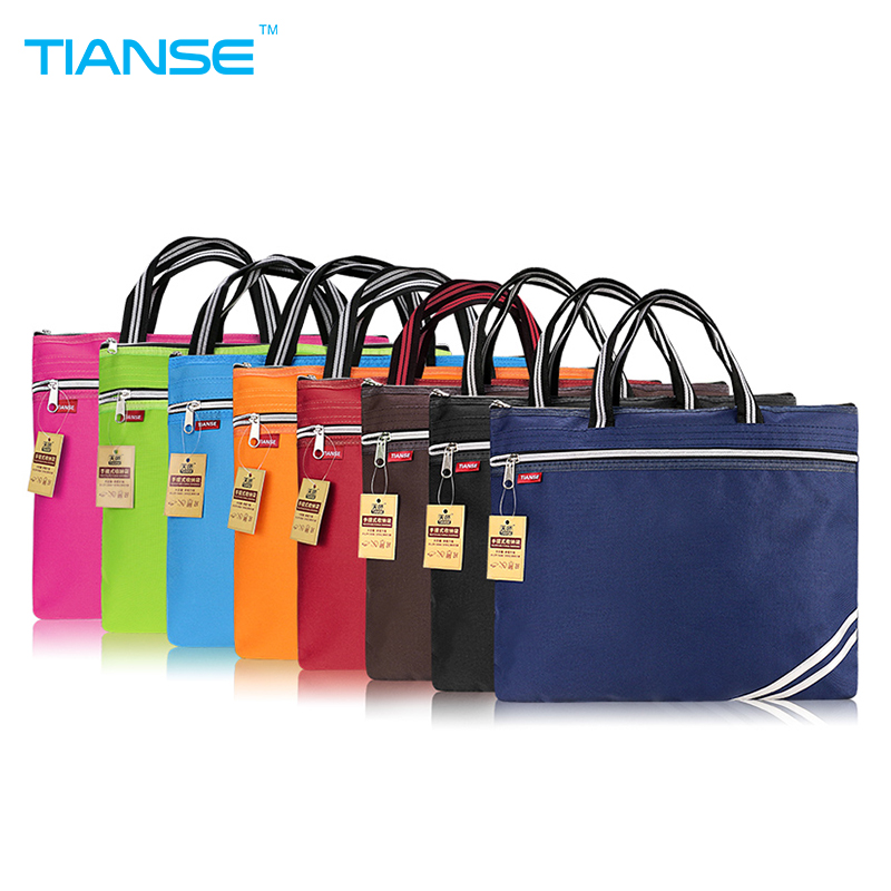 TIANSE Commercial Business Document Bag A4 Tote file folder Filing Meeting Bags Side Zipper Pocket office bags protable canvas pineapple watermelon mango gridding waterproof zip bag document pen filing products pocket folder free ship office