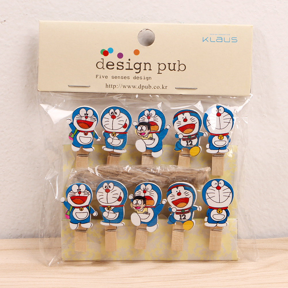 10 Pcs/Lot Kawaii Doraemon Wooden Clip Photo Paper Clothespin Craft Clips Party Decoration Clip With Hemp Rope