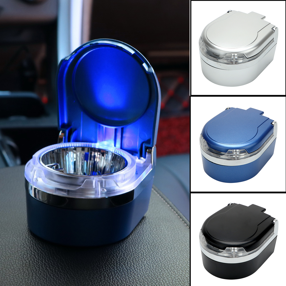 Portable Car Ashtray with LED Light Cigarette Cigar Ash Tray Auto Accessories Storage Cup Smoke Ash Cylinder Smoke Cup Holder auto ashtray cup shaped shiny finish with hook