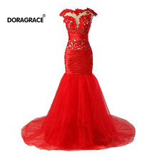 Doragrace robe de soiree Real Photos Cap Sleeve Applique Mermaid Evening Dresses Red Prom Gowns Custom Made