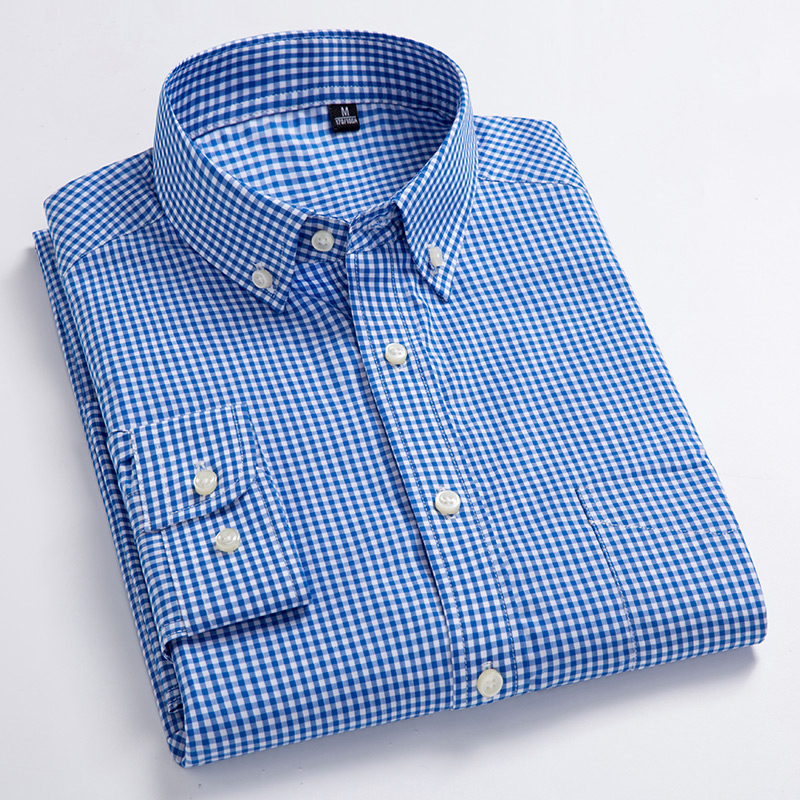 Mens Button-down Dress Shirt with Left Chest Pocket Comfy Soft 100% Cotton Smart Casual Slim-fit Contrast Mini Check Plaid Shirt