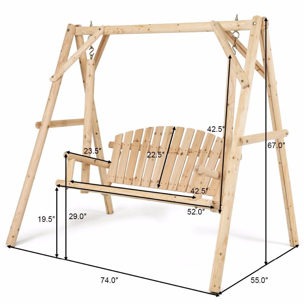 Elegant Giantex Rustic Wooden Porch Swing Bench Frame Stand Set ...