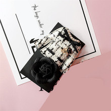цена на CX-Shirling Handmade Korea Fashion White&Black Letter 5 Brooch Pin Women Elegant Camellia Coat Bow Pendant Tassel Pin Female