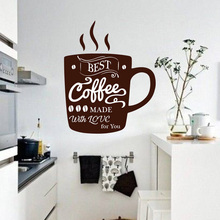 Coffee Wall Decal Art Mural Stylish Movable For Kitchen Home Dining Room Decor Cup of coffee Wall sticker Cafe Logo Sign W514 coffee time waterproof cup wall sticker