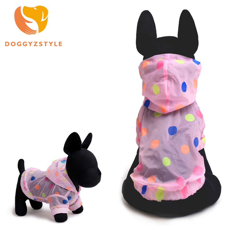 Colorful Waterproof Dot Dog Raincoat Pink Blue Soft Polyester Dog Coat Hooded All Season For Teddy Hot Sale DOGGYZSTYLE