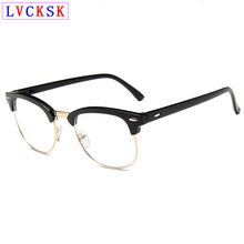 лучшая цена Finished Myopia Glasses For Women Men Vintage Semi Rim Shortsighted Nearsighted Eyeglasses Blear-eyed Spectacles Rivet Design L3