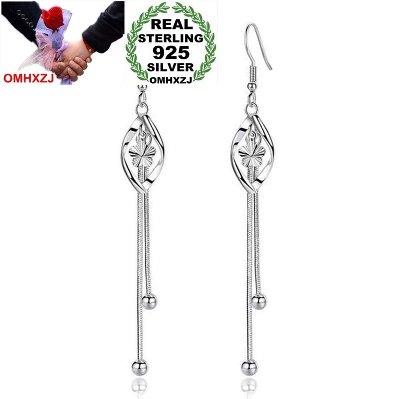 OMHXZJ Wholesale Jewelry Lovely Fashion Star For Woman Gift Plum Flower Bead 925 Sterling Silver Long Tassel Drop Earrings YS222