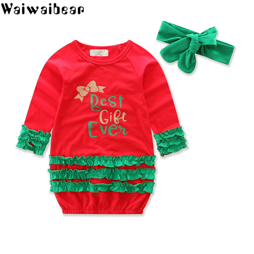 Baby Kids Girls Dress Kids Christmas Clothes Kids Long-sleeve Dresses Christmas Dress WIth Headwear Infant Baby Clothing kids girls birthday dresses infant dress newborn girls baby cotton long sleeve clothing 0 4 years