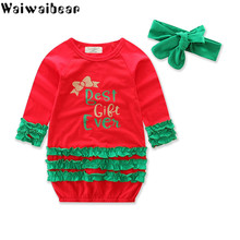 Baby Kids Girls Dress Christmas Clothes Long-sleeve Dresses WIth Headwear Infant Clothing