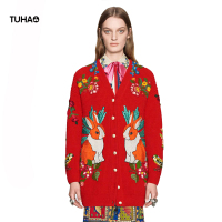 TUHAO Floral UFO Tiger Ribbit Embroidery Sweater Women Single Breasted Fashion Streetwear Knitted Cardigans Female TG5233