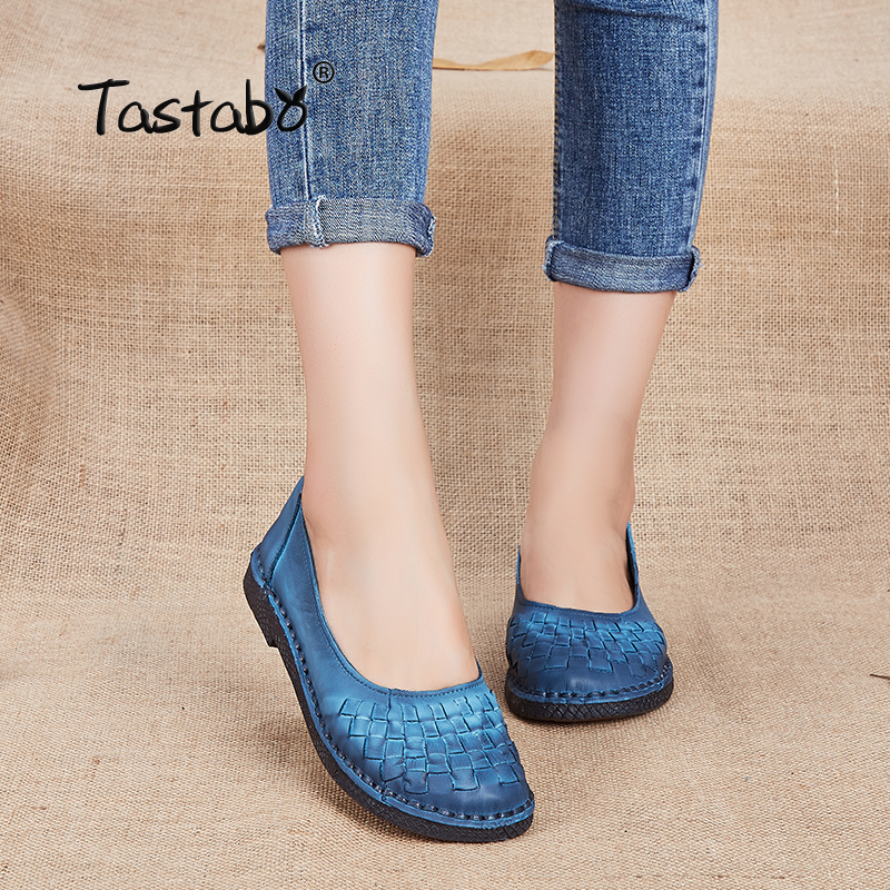 Tastabo Genuine Leather Shoes Fashion Loafers Women Shoes Handmade Soft Comfortable Flat Weave Solid Casual Shoes Women Flats tastabo handmade autumn women genuine leather shoes cowhide loafers real skin shoes folk style ladies flat shoes for mom sapato