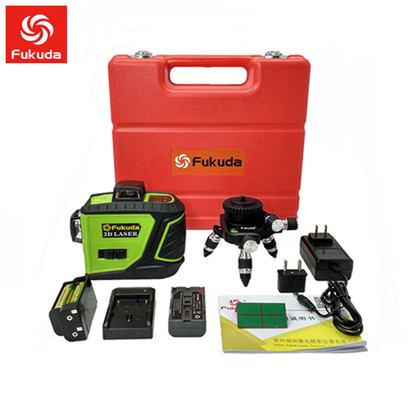 Fukuda 12 lines MW-93T lithium battery green  laser level 360 Vertical And Horizontal Self-leveling Cross Line 3D Laser Level Нивелир