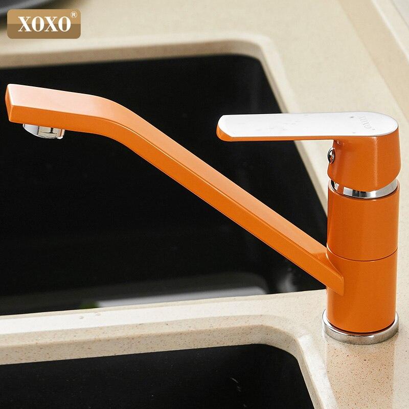 Xoxo torneira da cozinha de água fria e quente bronze laranja único punho 360 graus rotação torneira misturadora 20021