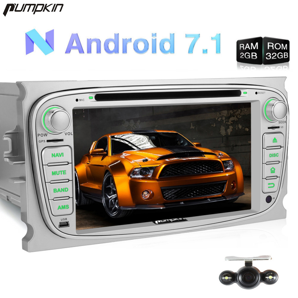 Pumpkin 2 Din Android 7.1 Car DVD Player For Ford Mondeo/Focus Quad-core GPS Navigation FM Rds Radio Car Stereo 3G OBD2 Headunit