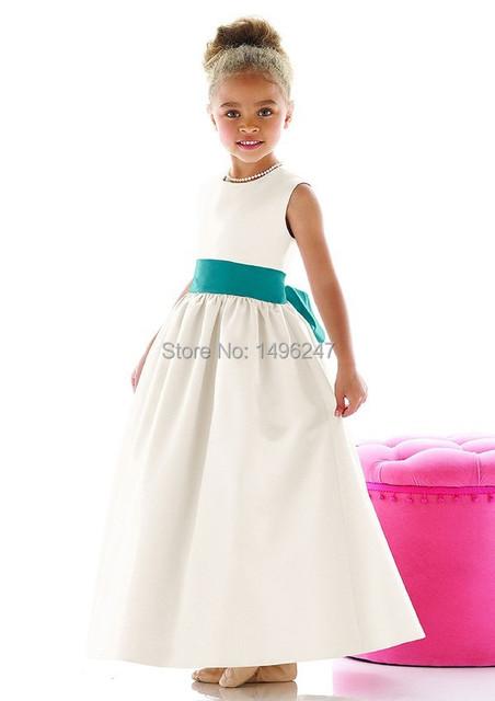 Adorável Satin A linha Flower Girl Dresses Scalloped Neck manga Cap tornozelo comprimento meninas vestidos Pageant primeira comunhão vestidos
