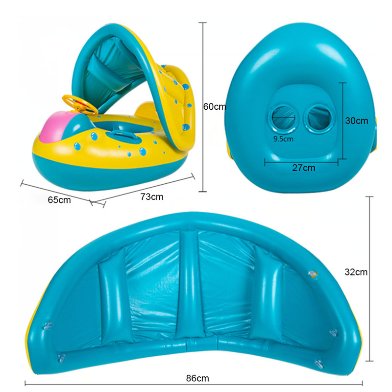 Summer Baby Kids Safety Float Swim Pool Inflatable Ride-ons Toys Seat Boat Infant Water Floating Yacht  Swim Pool Accessories