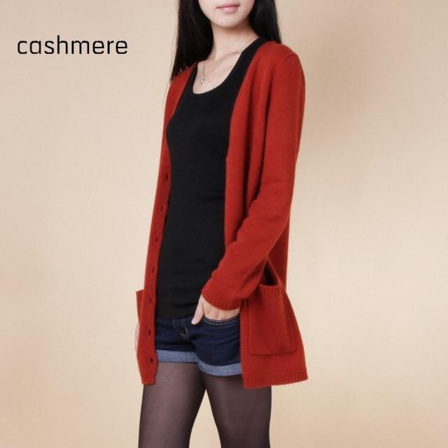 Novas blusas mulheres cardigan longo material de cashmere solta camisola para feminino outerwear casaco com bolsos suéter de lã senhora