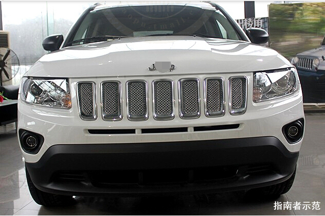 for Jeep compass 2011 2012 2013 2014 2015 Honeycomb style Front Grille Grill Bezel Cover Trims front center grille grill cover trims for toyota senna 2011 2012 2013 2014 2015