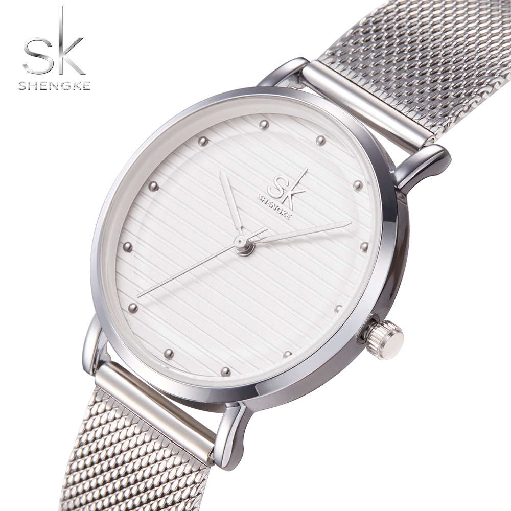 Shengke Brand Fashion Wristwatches Women Stainless Steel Band Women Dress Watches Women Quartz-Watch Relogio Feminino New SK 2
