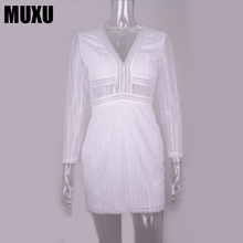 MUXU sexy summer white lace dress womens clothing fashionable dresses pencil jurken bodycon long sleeve streetwear 2018