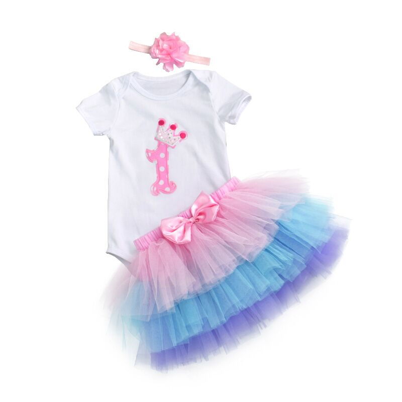 Fashion Baby Girl clothing Set Bodysuit jumsuit set Cotton Romper+6 layer tutu skirt Headbands Infant 1st Birthday Clothing suit 3 pcs baby girl bodysuits set organic cotton romper cartoon headbands infant clothes set newborn clothing suits lace skirt sets