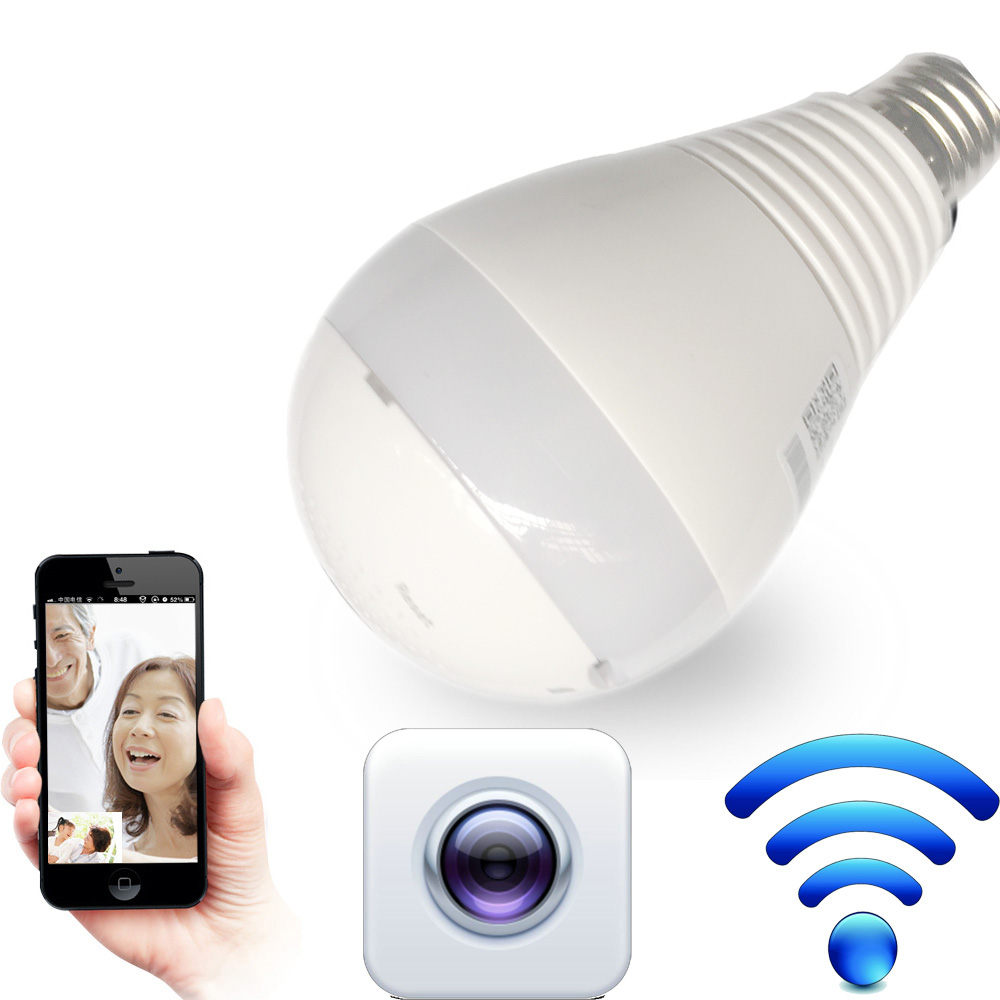 LED Bulb Light with 360 degree WiFi LED Bulb Camera Panoramic Wireless IP Bulb Camera Smart